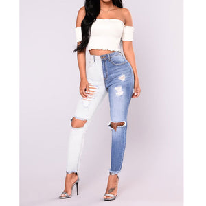 Blue White Colorblock Jeans Women hole Ripped Jeans Full Length High Waist Skinny Pencil Pants 2018 Pantacourt Femme Ete-lilugal