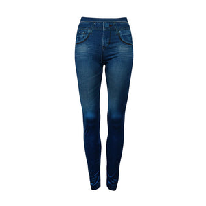 Fake Pockets Women Denim Jeans Seamless Sexy Skinny Leggings Stretchy Slim Pants Stylish Elastic Solid Color Leggings New-lilugal