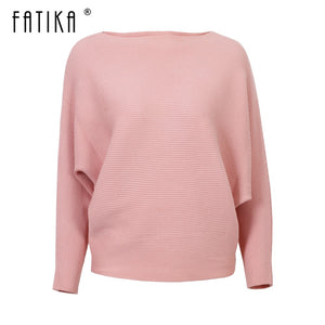 FATIKA Winter Hot Fashion Women's Sweaters And Pullovers Batwing Sleeve Slash Neck Knitted Sweaters Casual Loose Jumper Tops-lilugal