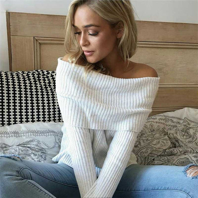 Off Shoulder Knitted Sweater Women 2018 Winter Slim Oversized Sweaters and Pullovers Autumn Pink Jumper Pull Femme-lilugal