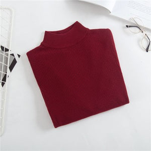 Onlyoung 2018 Autumn Winter Women Knitted Sweater Pullover Slim Knitwear White Warm Turtleneck Sweater Casual Jumper Pull Femme-lilugal