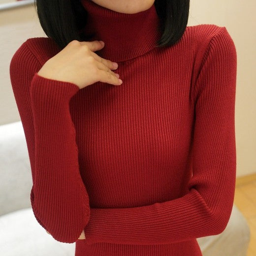 PEONFLY Autumn Elastic Long Sleeve Sweaters Female Pullover Turtleneck Women Pullovers Jumper Streetwear Knitted Tops BLACK RED-lilugal