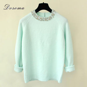 2018 Winter Women Sweaters Pullovers Shiny Crystal Beading O-neck Knitted Sweaters Women Elegant Casual Pullovers Warm Knitwear-lilugal