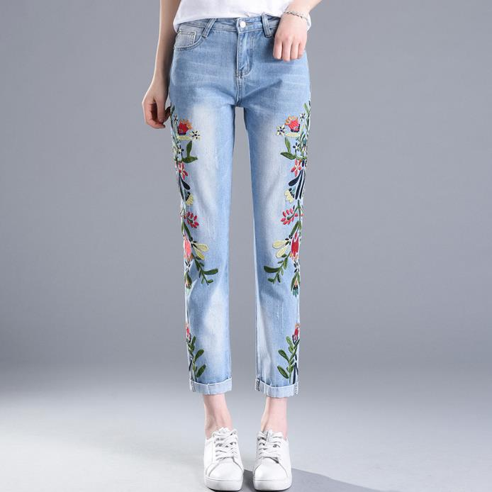 new 2018 spring summer embroidery flowers large size jeans women's pencil pants-lilugal