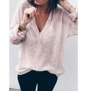 Autumn winter 2018 women sweaters pullovers Sexy deep V-neck knit bottom light loose long sleeve knitted jumpers sweater women-lilugal