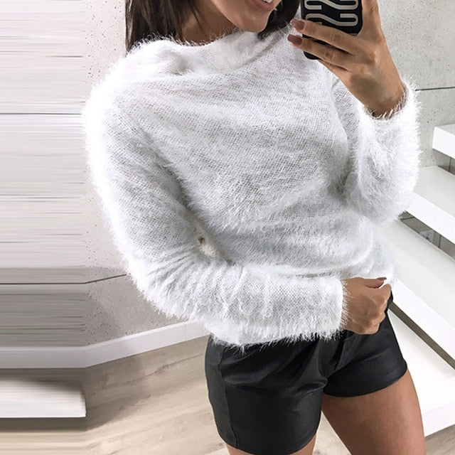 ZANZEA 2018 Winter Leisure Turtleneck Long Sleeve Plush Fluffy Jumper Knit Pullover Women Fashion Solid Slim Fit Party Sweaters-lilugal