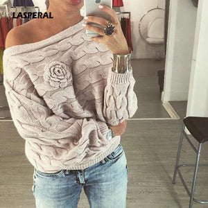 LASPERAL 2018 Autumn Winter Women Jumper Sweater Twisted Batwing Sleeve Off Shoulder Sweater Knit Casual Pullover Jerseys Mujer-lilugal