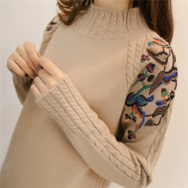 2018 female half turtleneck sweater female sleeve head embroidery twist loose all-match long sleeved bottoming sweaters-lilugal