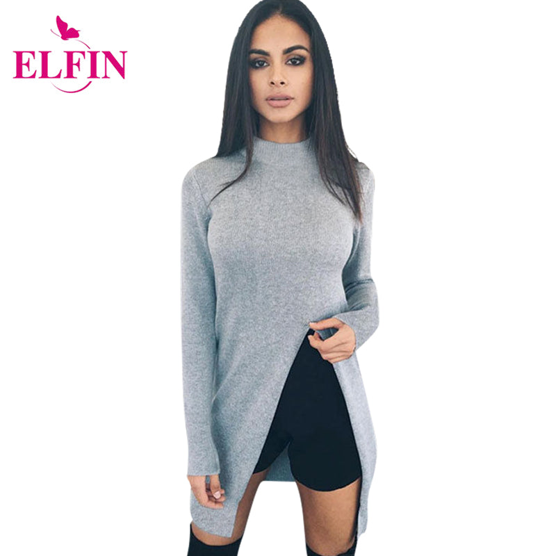 Fashion Sweater Women Long Sleeve Top Knitted Sweaters Pullovers High Split Hem Casual Knitwear Solid Women'S Clothing LJ5765R-lilugal