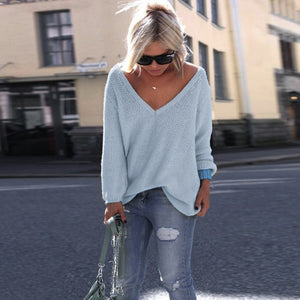 10 colors v Neck Sweater Women Jumpers Pullovers Long Sleeve Knitted Sweaters pull over autumn winter fashion sweaters woman-lilugal