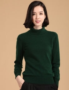 2018 autumn winter cashmere sweater female pullover high collar turtleneck sweater women solid color lady basic sweater-lilugal