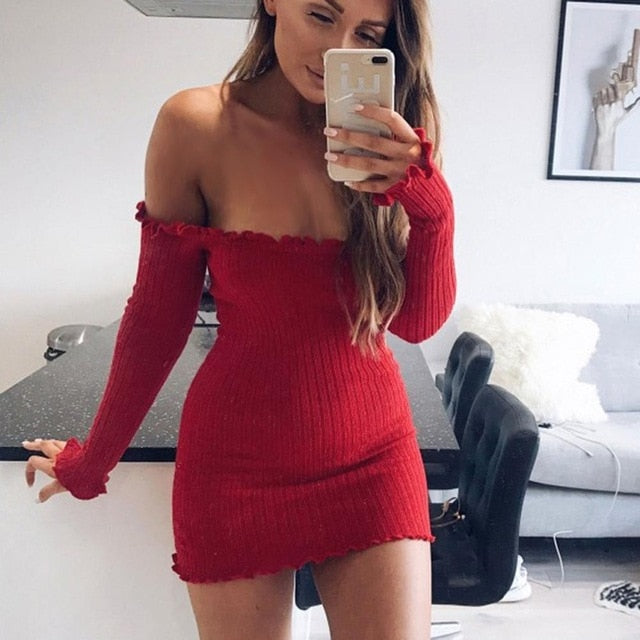 Sexy Off Shoulder Long Sweaters Dress Women Bodycon Pack Hip Long Pullovers Autumn Winter Plus size Sweater 7 Colors Women tops-lilugal