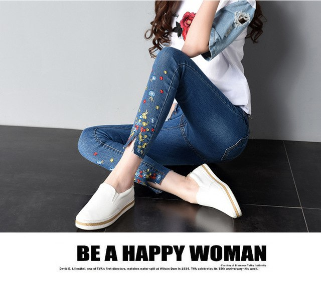 New Embroidery Jeans Female Summer Style Fashion Embroidery Was Thin Stretch Ankle-Length Pants Elasticity Small Jeans Women-lilugal
