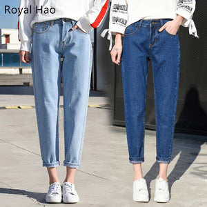 R&H 2018 Women's Pants Loose Mom Jeans High Waist Knee Length Boyfriend Jeans For Women Pants Feminino Mujer-lilugal