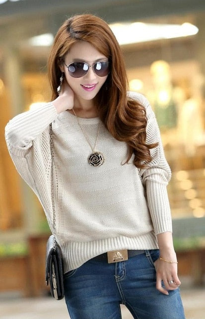 CWLSP New Fashion Women Solid Hollow Out Batwing Sleeve Sweater Casual Loose Knitted Pullover Female Autumn Jumper LY137-lilugal