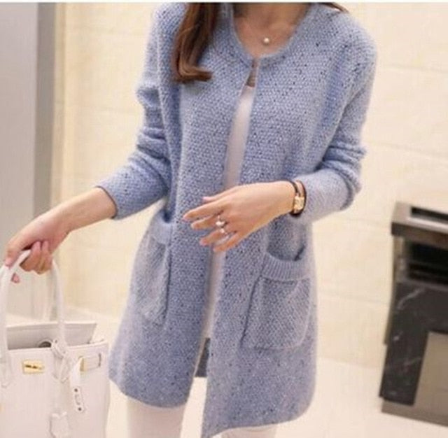 2018 Autumn Winter Women Long Sleeve Knitted Cardigan Sweater Women Thick Warm Mohair Pocket Pull Femme Sweater Feminine Coat-lilugal