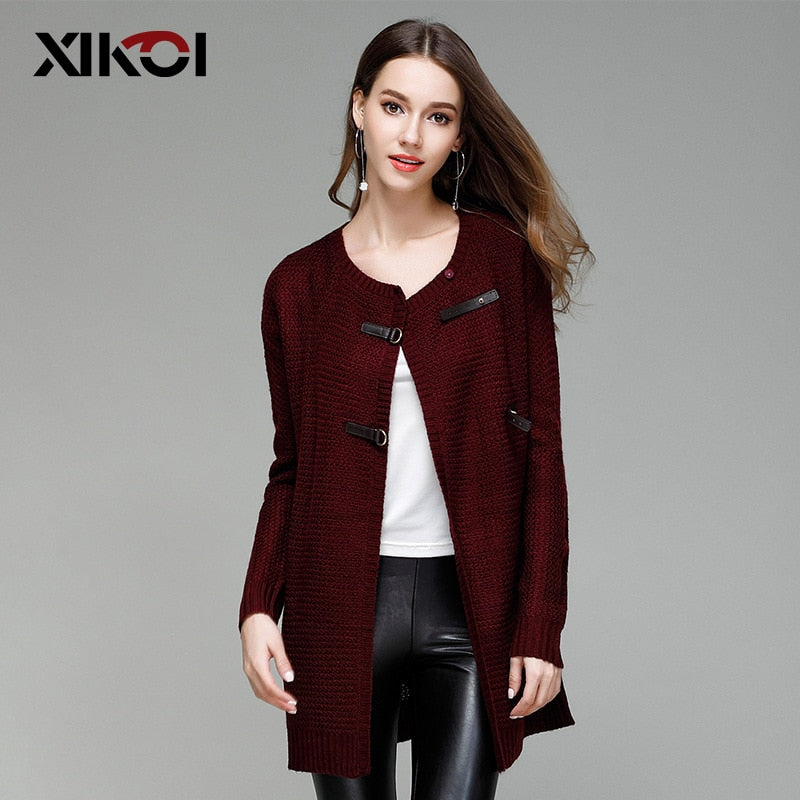 XIKOI Cardigan Women Long Sweaters O-neck PU Button Cardigans Women Long Knitted Cardigans Women Knitted Sweaters Female Jumpers-lilugal