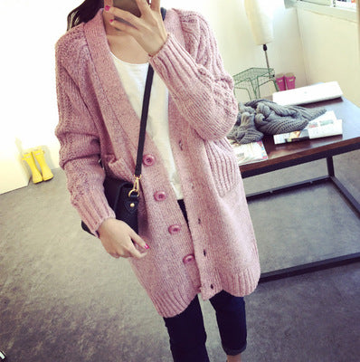 2018 New fashion Long Cardigan Womens Warm Sweaters For Winter Thick V Neck Pocket Coat-lilugal