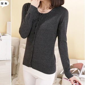 2018 Spring and autumn women cardigan sweater o-neck cardigan wool sweater female short coat free shipping-lilugal