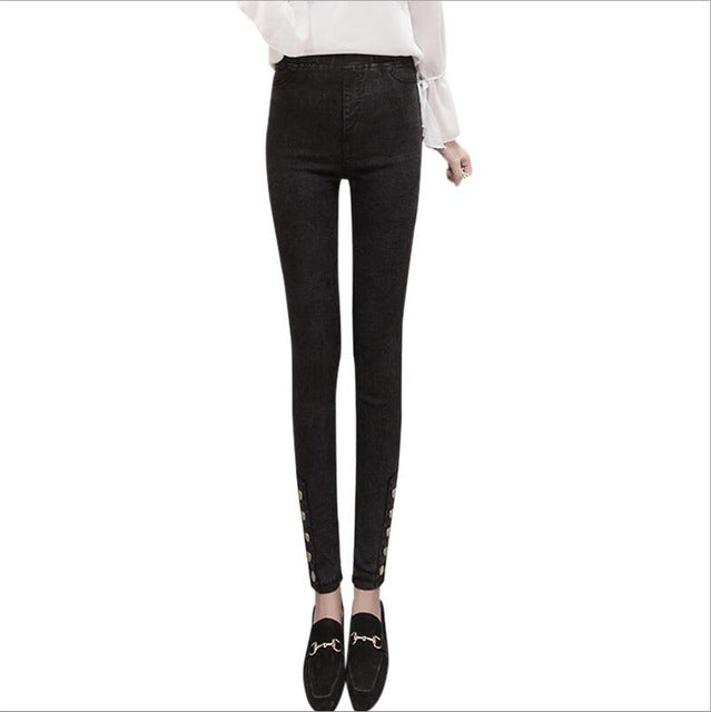 New Autumn High Waist woman Jeans Leggings Outer Wear Jeans women Sweet  Vintage Skinny jeans Casual 86c6e8ac8c8a