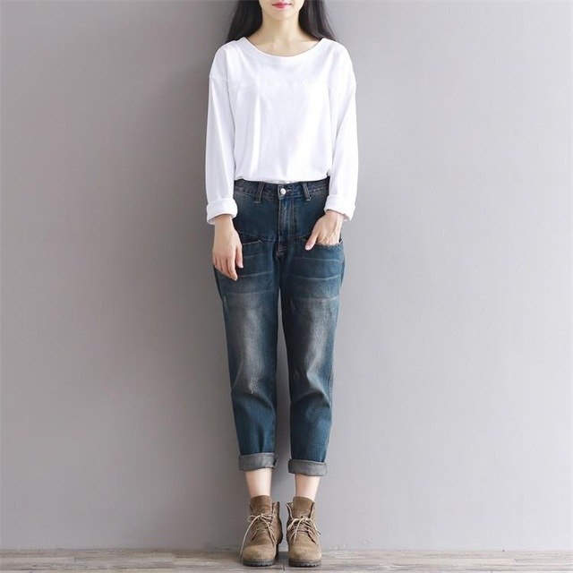 2018 Harem Pants Jeans Women Denim Pants Casual Loose Trousers Plus Size Cotton Vintage Boyfriend Jeans Female Vaqueros Mujer-lilugal