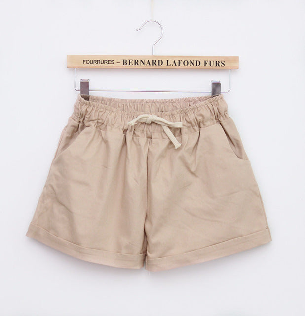 DANJEANER 2018 Summer Style Shorts Women Candy Color Elastic With Belt Short Women Home casual Cotton shorts-lilugal
