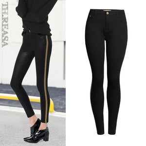 2018 Spring Fashion Sequined Side Stripe Jeans Women Europe America Denim Cotton Slim Push Up Black Skinny Pencil Pants Mujer-lilugal