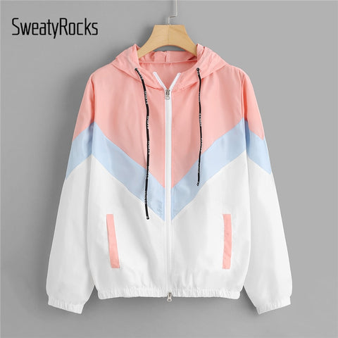 SweatyRocks Hooded Chevron Windbreaker Jacket Patchwork Jackets Women Color Block Zipper Jacket Fall Casual Coats Outerwear-lilugal