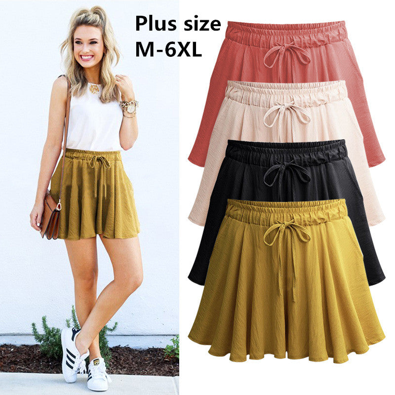 Summer Plus size 6XL Women Shorts Skirts Cotton Wide Leg Shorts Womens Casual Loose High waist Female Shorts-lilugal