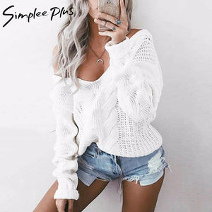 Simplee Plus Sweater Plus Size Women Spring Autumn Pullovers Long Sleeve V Neck Tops Casual Sweater For women knitted sweaters-lilugal