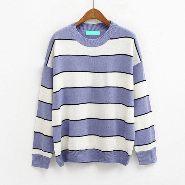 2018 New Korean Women Casual Knitted Sweater Autumn Fashion O-Neck Color Block Striped Pullovers Jumpers Female Loose Sweaters-lilugal