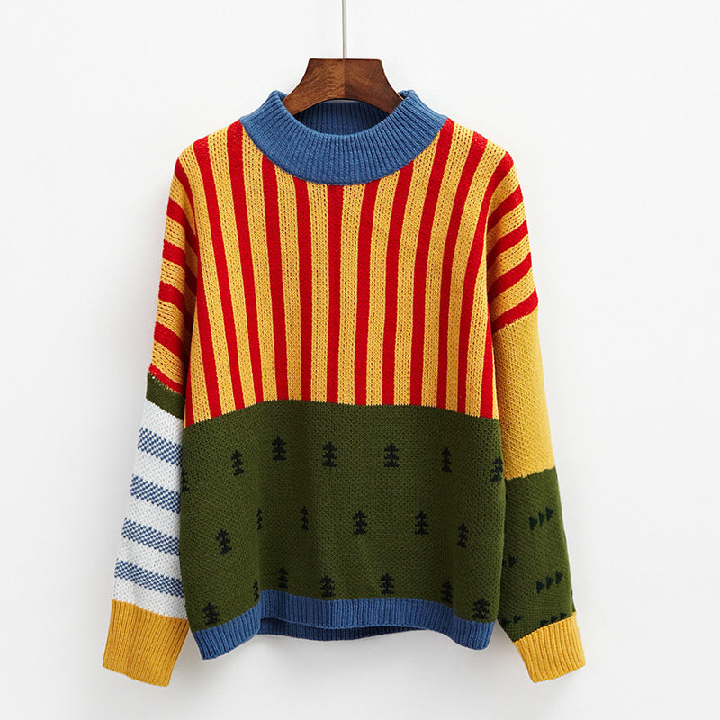 2018 Korean New Winter Sweaters Woman Vintage Hit Color Stripe Loose Pullover Sweater Female Casual Jumpers-lilugal