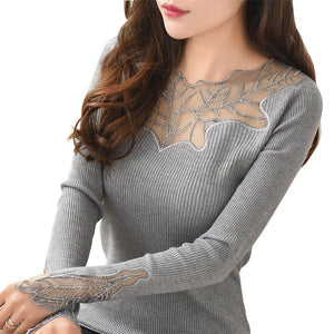 Women Pullovers 2018 Cashmere Sexy Lace Pullover Sweaters Fashion Patchwork Hollow Out Ruffled Collar Knitted Tops Pull Femme-lilugal