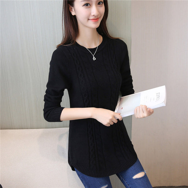 2018 Autumn Winter Women Sweater And Pullover Female Long Sleeve Knitted Jumper Jersey Tricot Tops Pull Femme-lilugal