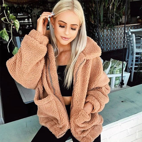 Aproms Women Winter Front Pockets Warm Thick Coats Autumn Casual Oversized Soft Teddy Jacket High Street Coat Outwear Female-lilugal