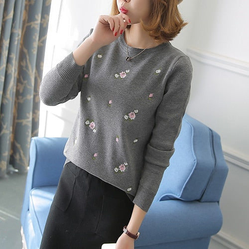 Gogoyouth Women Sweater For Winter 2018 Autumn Floral Embroidery Knitted Jumper Ladies Pullover Female Tricot Tops Pull Femme-lilugal