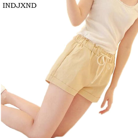 INDJXND 2018 Brand New Summer Women Casual Loose Elastic Waist Cotton Shorts Drawstring Slim Shorts Solid Colors Women Shorts-lilugal