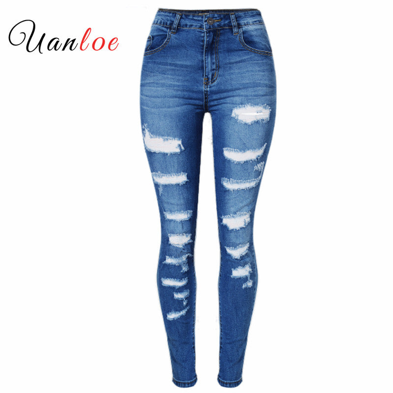 2018 Women`s Celebrity Style Fashion Blue Low Rise Skinny Distressed Washed Stretch Denim Jeans For Women Ripped Pants-lilugal