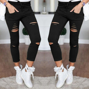 2018 Casual Solid High Waist Skinny Hollow Out Jeans Woman Plus Size TrousersPencil Unique Design Women Jeans-lilugal