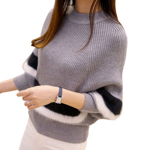 2018 New Winter Women Sweaters Fashion O-Neck Batwing Striped Pullovers Plus Size Loose Knitted Sweaters Female Jumper Tops-lilugal