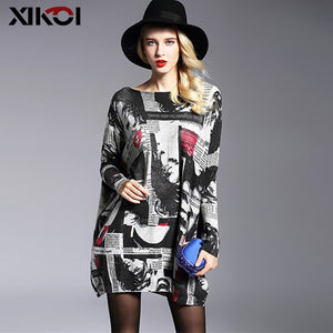 XIKOI Fashion Oversized Knitted Sweaters Women's Clothing Pullovers Jumpers Slash Neck Batwing Sleeve Long Print Sweater Shirts-lilugal