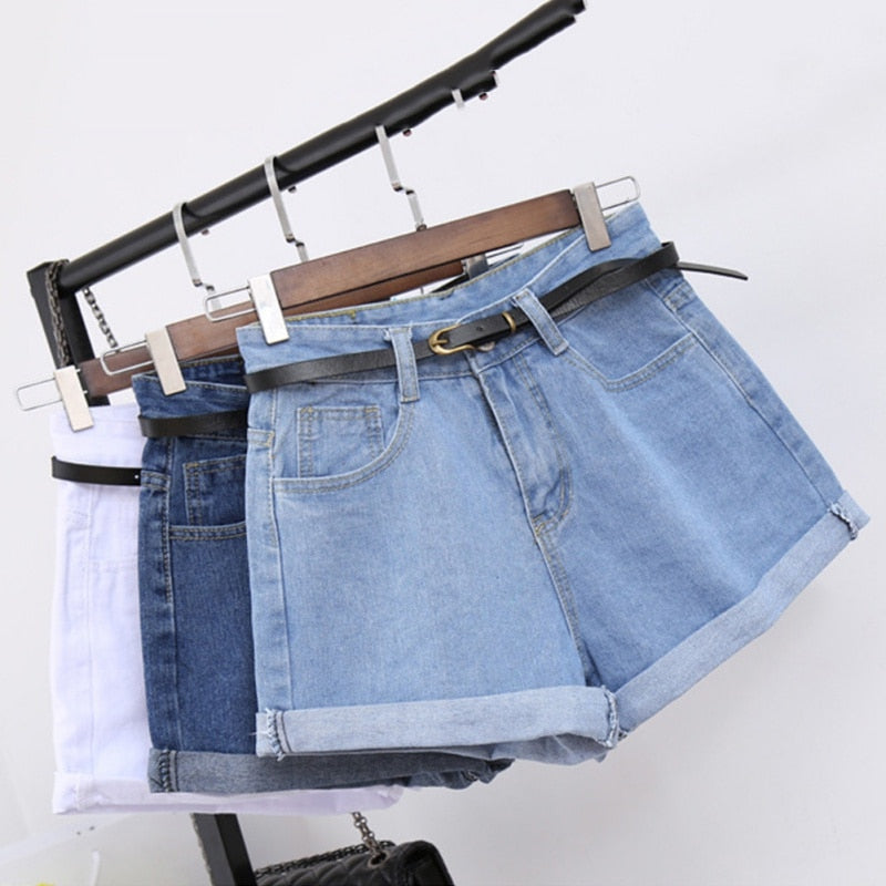 Retro High Waisted Denim Shorts For Women Rolled Denim Jeans Shorts With Pockets Summer Loose Slim Shorts Excluding belts W6-lilugal