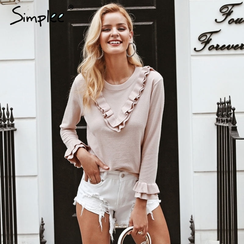 Simplee Elegant o neck ruffle knitted sweater women long sleeve jumpers Autumn winter casual pullovers and sweater-lilugal