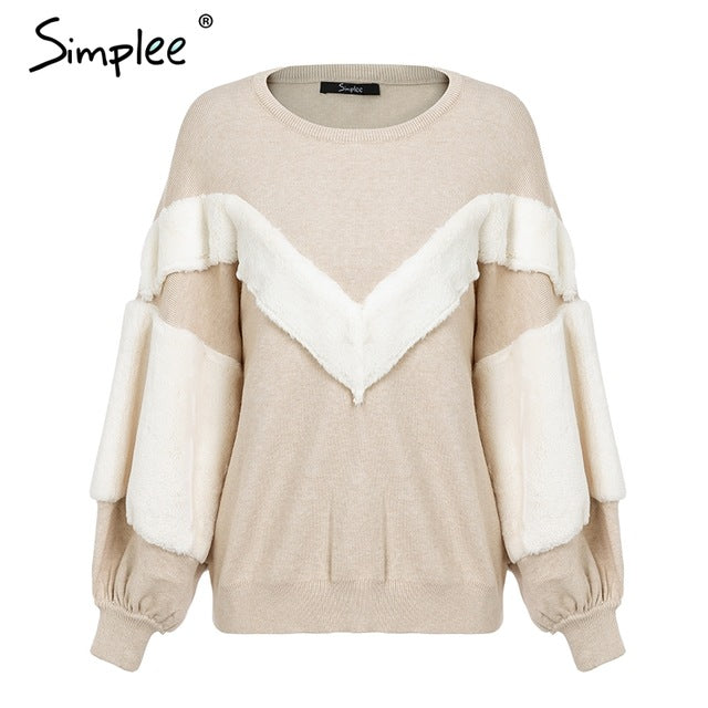 Simplee Faux Fur patchwork warm women sweater Batwing sleeve loose pullover 2018 Autumn winter casual jumper female-lilugal