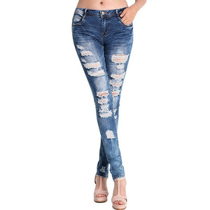 Fashion Pants Jeans Women Hole Stretch Cotton Ripped Jeans Skinny Jeans-lilugal