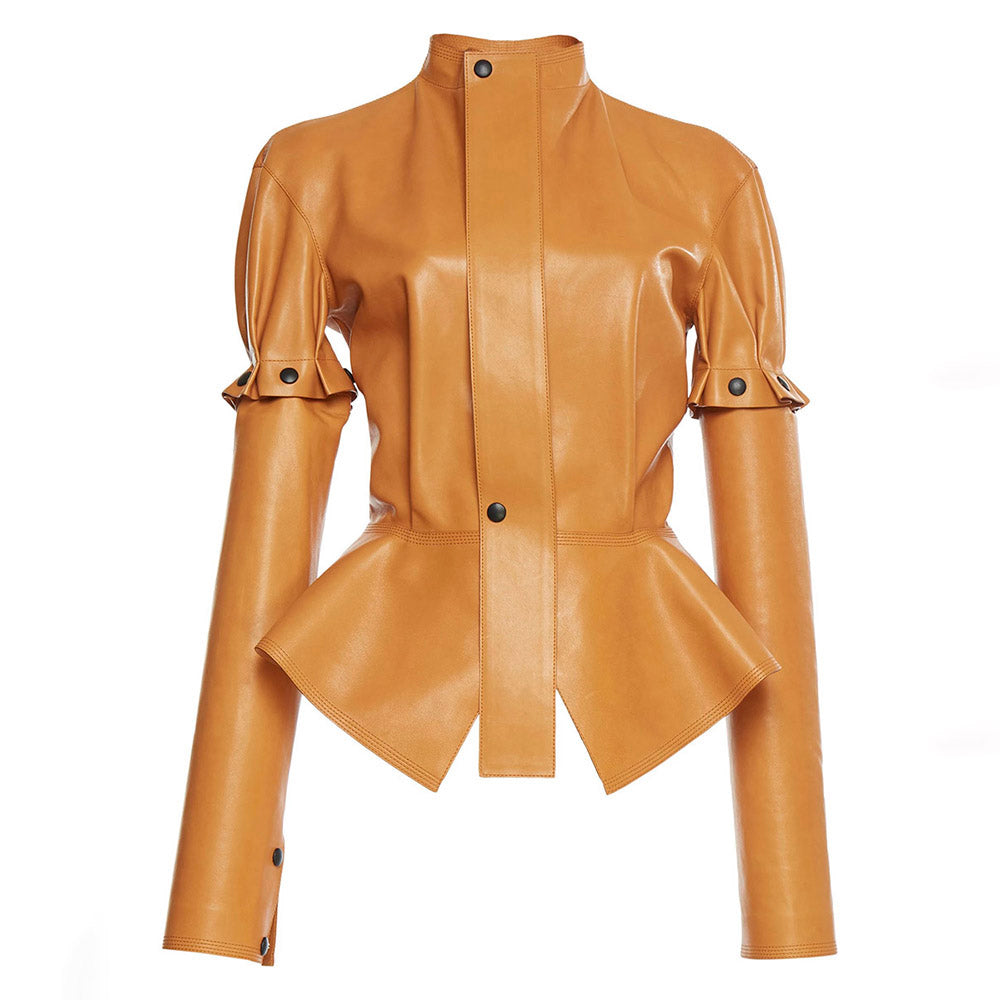 Women Casual Jackets Autumn Winter Brown Plain PU Slim Stand Collar Removable Ruffle Button Patchwork Casual Jacket Leather Coat-lilugal