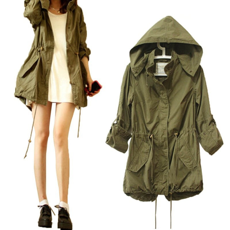 Women Winter Warm Army Green Military Parka Trench Hooded Coat Jacket-lilugal