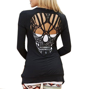 Women's Summer Autumn Black Casual Jacket Jumper Tops Long Sleeve Sexy Back Skull Cut Out Sweaters-lilugal