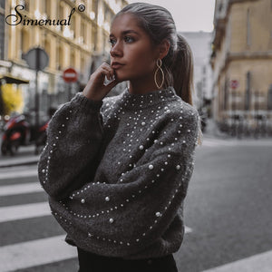 Simenual Autumn winter 2018 women sweaters and pullovers bead lantern sleeve knitted sweater pullover female grey slim jumpers-lilugal