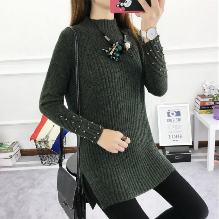2018 Winter Women's Sweater Female Autumn Casual Fashion Pullover Ladies Long Sleeve O Neck Solid-lilugal